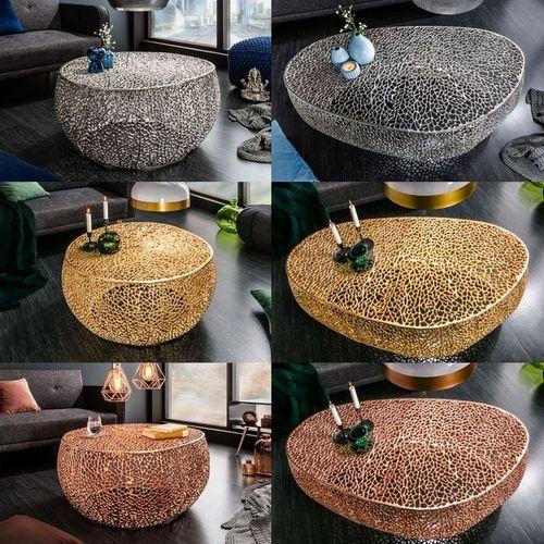 Couchtisch NUBE Gold aus Aluminium im Aststruktur-Design handgefertigt 80cm Ø - 6