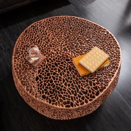 Couchtisch NUBE Kupfer aus Aluminium im Aststruktur-Design handgefertigt 80cm Ø - 2