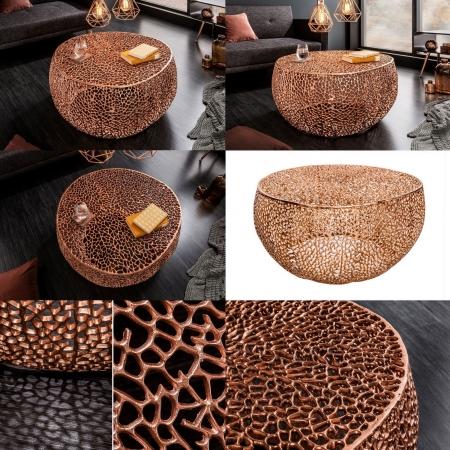 Couchtisch NUBE Kupfer aus Aluminium im Aststruktur-Design handgefertigt 80cm Ø - 5