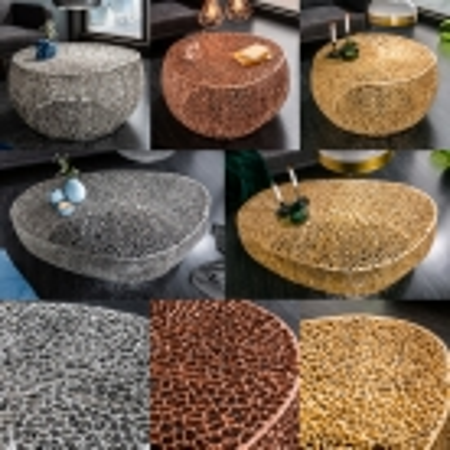 Couchtisch NUBE Kupfer aus Aluminium im Aststruktur-Design handgefertigt 80cm Ø - 6
