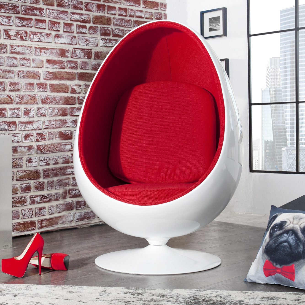 Retro Lounge Designer Sessel Sitzei Egg Ball Weiss Rot Space Egg