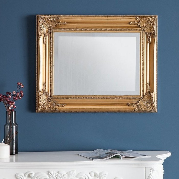 romantischer wandspiegel louvre gold antik in barock design 55cm x 45cm neu ebay. Black Bedroom Furniture Sets. Home Design Ideas