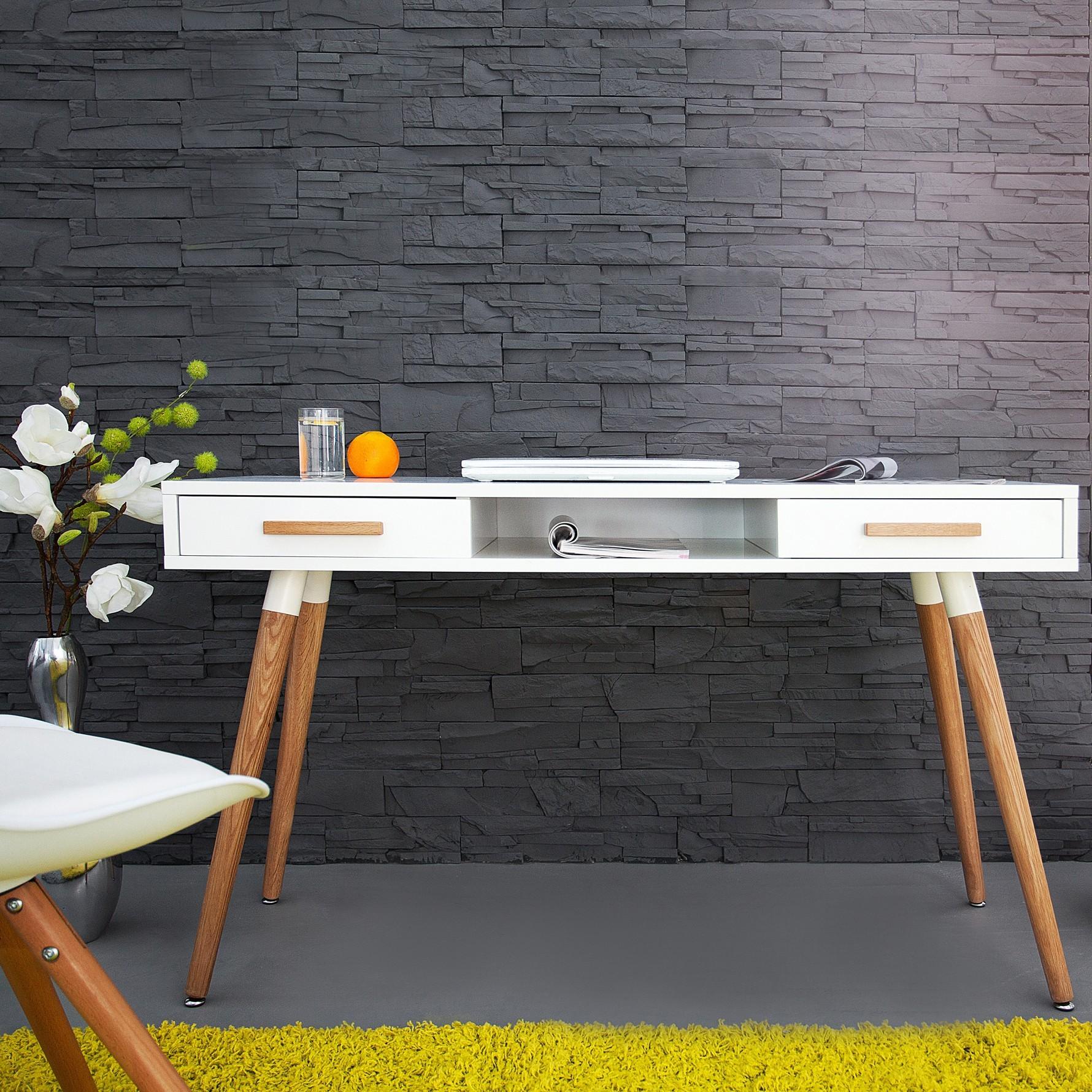retro design schreibtisch g teborg weiss eiche 120cm im skandinavischen stil ebay. Black Bedroom Furniture Sets. Home Design Ideas