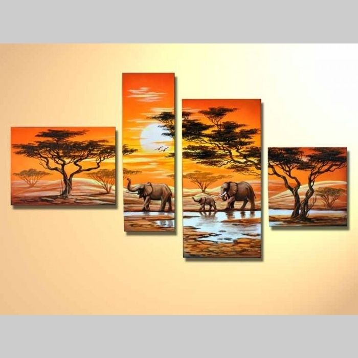 4 leinwandbilder afrika elefant 2 120 x 70cm handgemalt. Black Bedroom Furniture Sets. Home Design Ideas