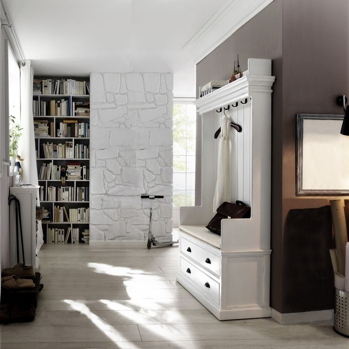 garderobe mit sitzbank josephine antik weiss 100 x 190cm aus mahagoni neu ebay. Black Bedroom Furniture Sets. Home Design Ideas