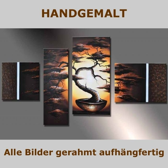 handgemalt 4 leinwandbilder bilder afrika baum 2 120 x 70cm auf rahmen neu ebay. Black Bedroom Furniture Sets. Home Design Ideas