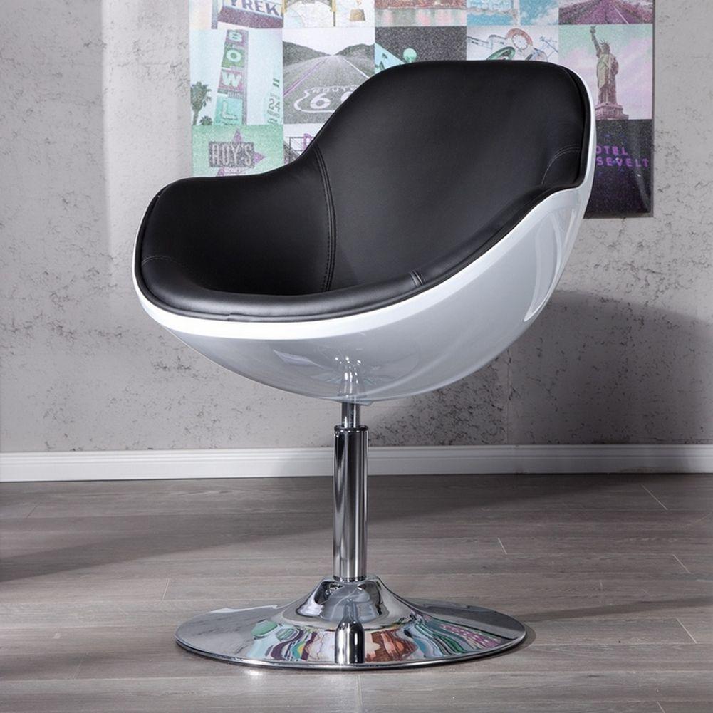 wohnzimmer sessel retro:Designer Retro Lounge Sessel Cocktailsessel KOPENHAGEN Weiß-Schwarz