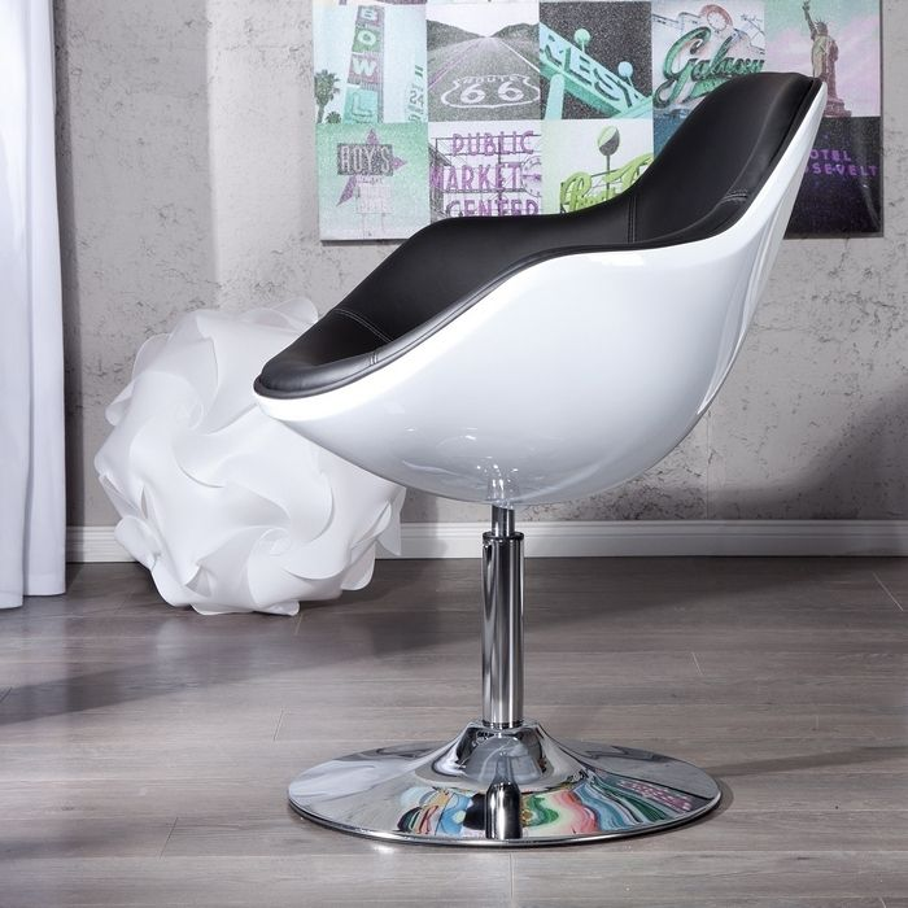 Lounge sessel schwarz weiß  Designer Retro Lounge Sessel Cocktailsessel KOPENHAGEN Weiß-Schwarz ...