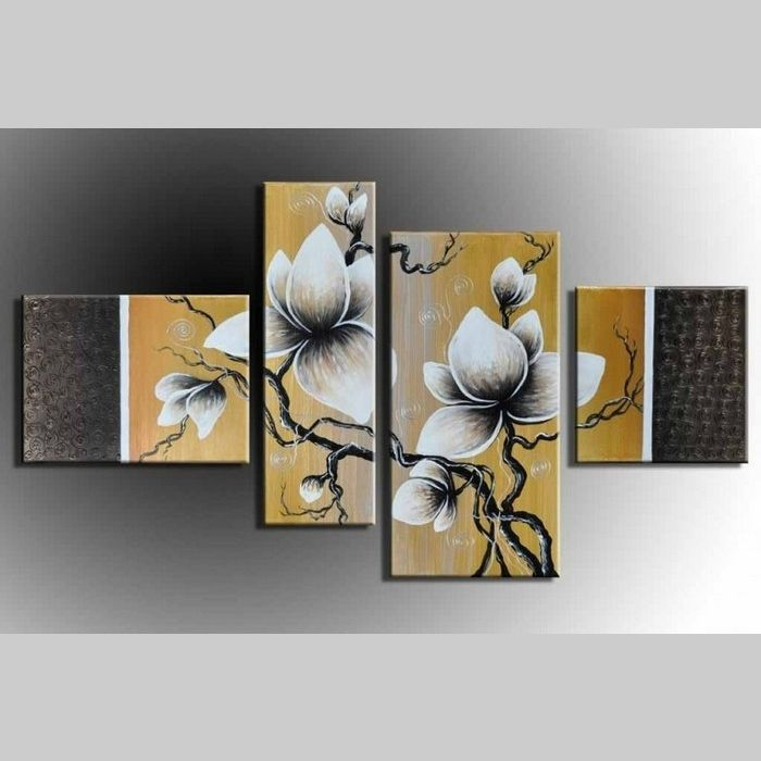 4 leinwandbilder blumen 6 120 x 70cm handgemalt cag. Black Bedroom Furniture Sets. Home Design Ideas