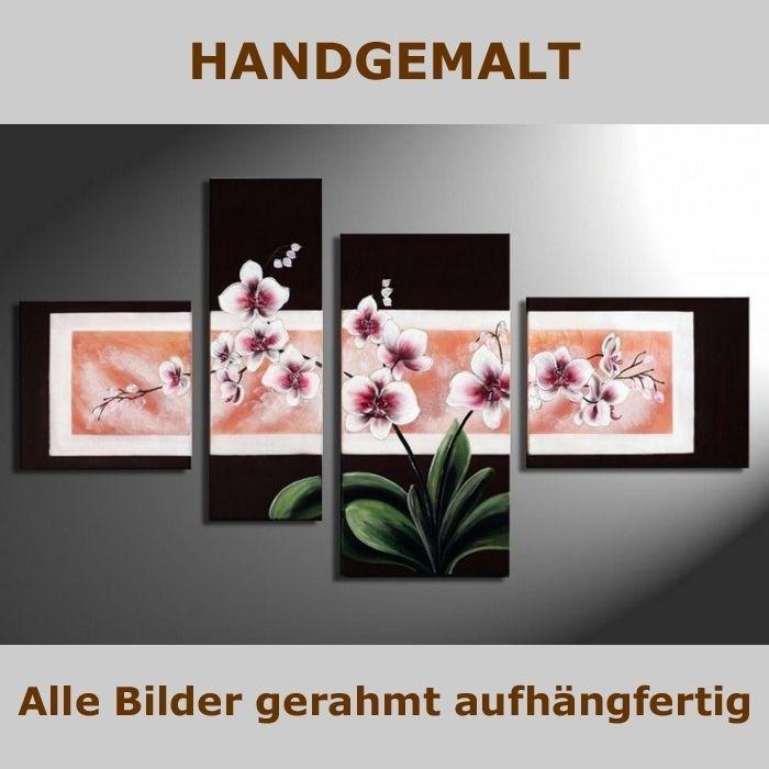 handgemalt 4 leinwandbilder bilder orchideen 1 120 x 70cm auf rahmen neu. Black Bedroom Furniture Sets. Home Design Ideas