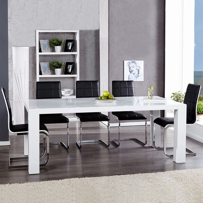esstisch york wei hochglanz 180cm portofrei g nstig. Black Bedroom Furniture Sets. Home Design Ideas