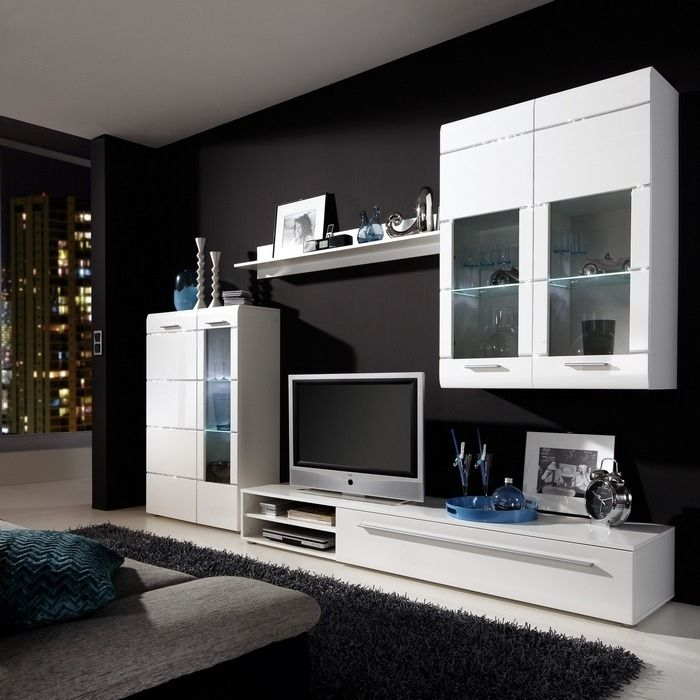 designer wohnwand ibiza a2 weiss hochglanz mit swarovski elements neu ebay. Black Bedroom Furniture Sets. Home Design Ideas