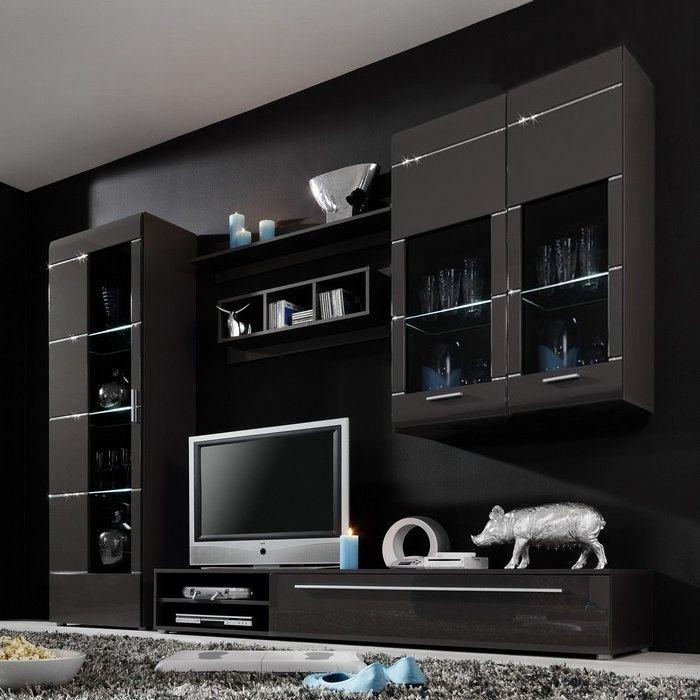 designer wohnwand ibiza b2 anthrazit hochglanz mit swarovski elements neu ebay. Black Bedroom Furniture Sets. Home Design Ideas