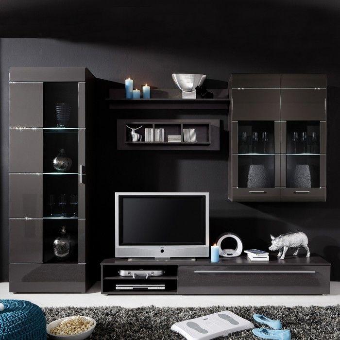 Designer wohnwand ibiza b2 anthrazit hochglanz mit for Wohnwand 60er