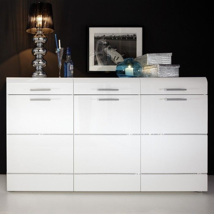 designer sideboard highboard ibiza weiss hochglanz mit. Black Bedroom Furniture Sets. Home Design Ideas