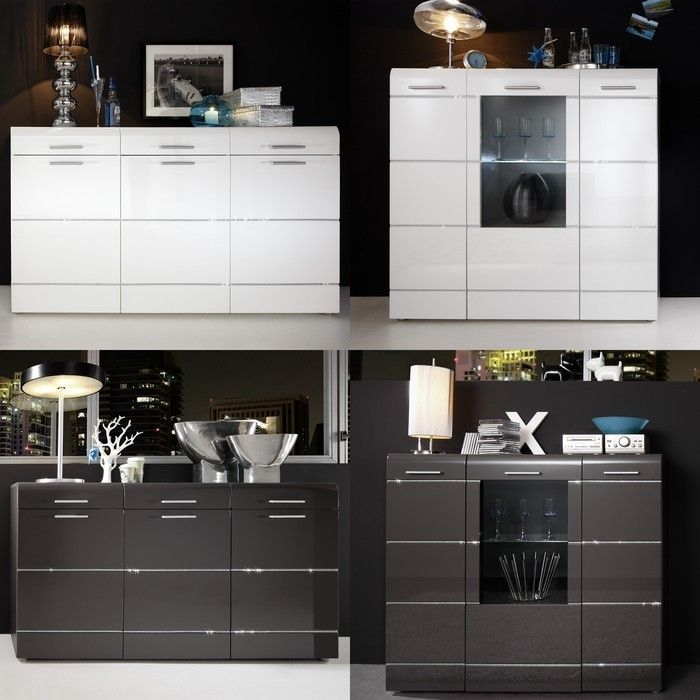 designer sideboard highboard ibiza weiss hochglanz mit swarovski elements neu ebay. Black Bedroom Furniture Sets. Home Design Ideas