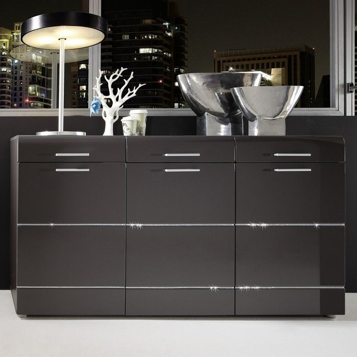 designer sideboard highboard ibiza anthrazit hochglanz. Black Bedroom Furniture Sets. Home Design Ideas