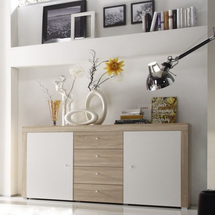designer sideboard kommode salamanca eiche sonoma weiss hochglanz neu ebay. Black Bedroom Furniture Sets. Home Design Ideas