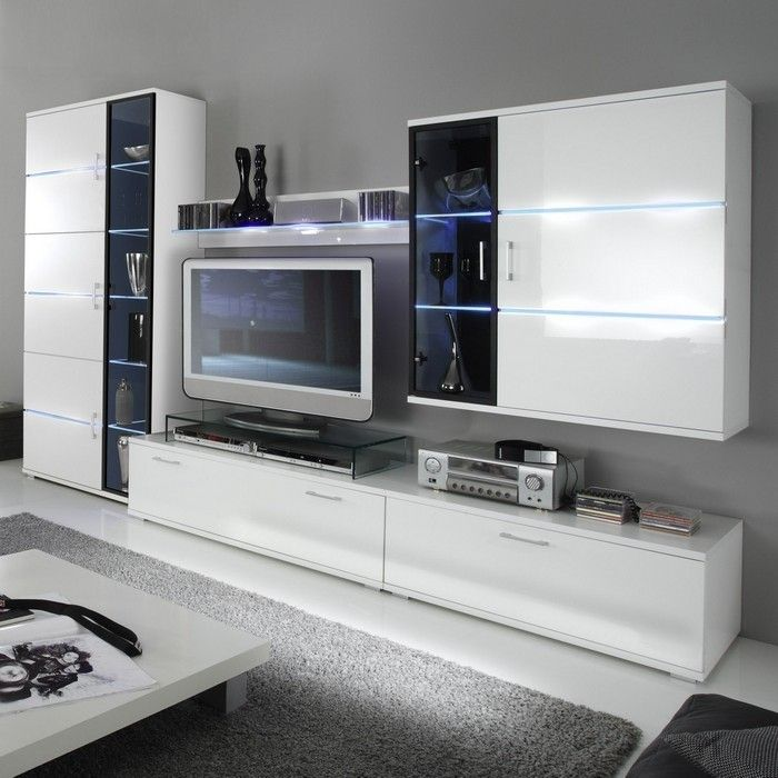 designer wohnwand anbauwand toledo weiss hochglanz neu ebay. Black Bedroom Furniture Sets. Home Design Ideas