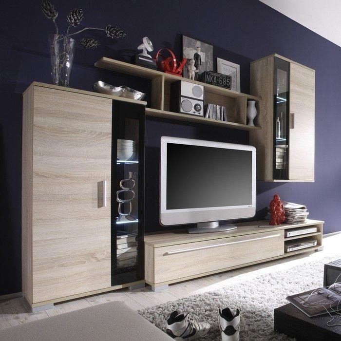 designer wohnwand anbauwand bilbao eiche sonoma schwarz neu ebay. Black Bedroom Furniture Sets. Home Design Ideas