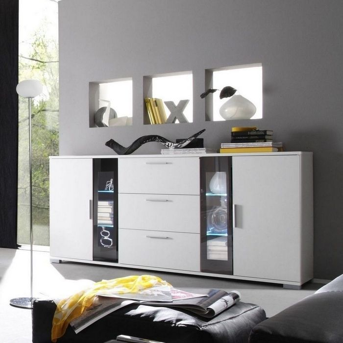designer sideboard kommode bilbao weiss inkl led beleuchtung weiss neu ebay. Black Bedroom Furniture Sets. Home Design Ideas
