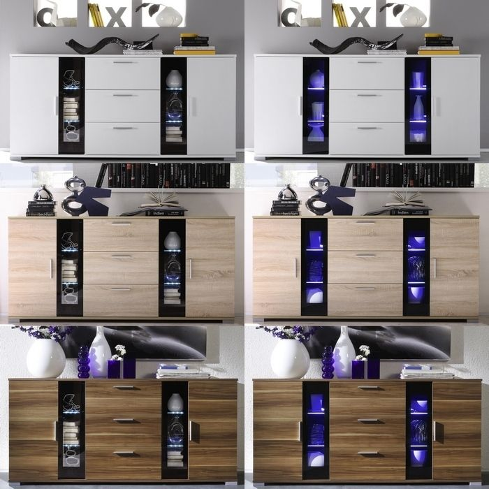 designer sideboard kommode bilbao walnuss schwarz neu ebay. Black Bedroom Furniture Sets. Home Design Ideas
