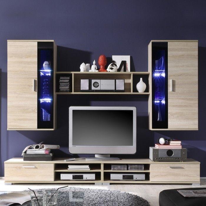 wohnwand sonoma eiche g nstig interessante. Black Bedroom Furniture Sets. Home Design Ideas