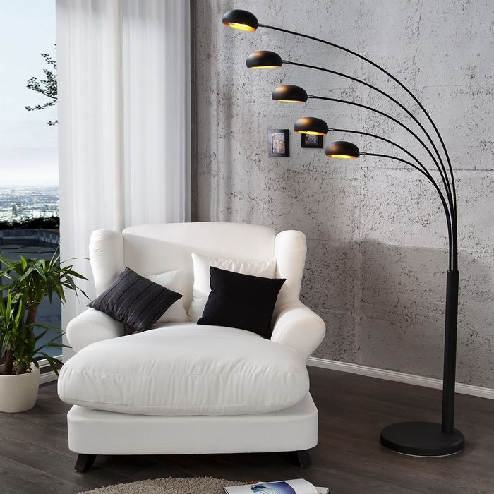 xl stehlampe bogenlampe tulipa schwarz gold metallfuss schwarz 205cm h he ebay. Black Bedroom Furniture Sets. Home Design Ideas