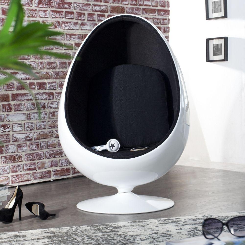 Designer Sessel EGG BALL Weiß-Schwarz portofrei online bestellen ...