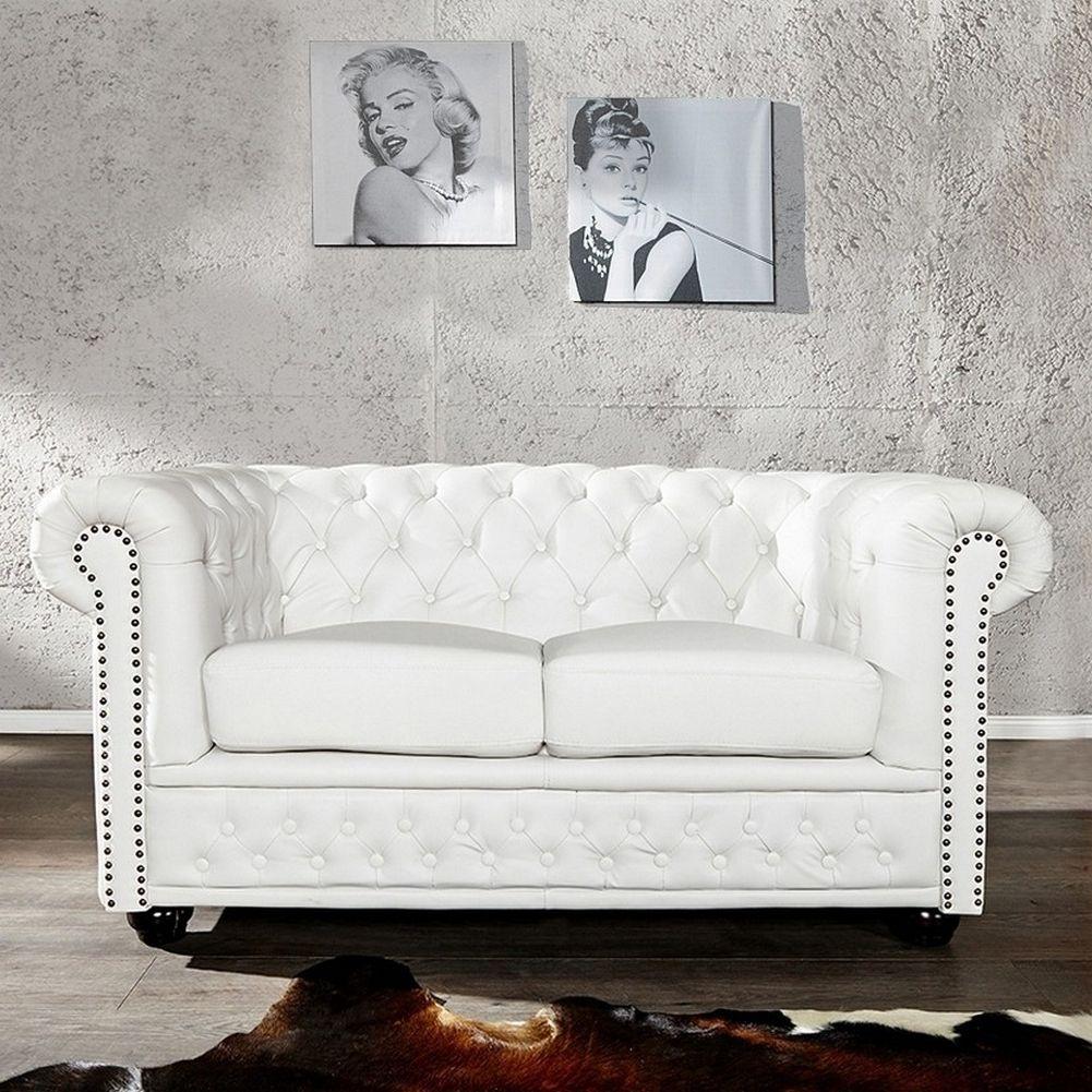 Edle chesterfield 2er sofa winchester weiss kunstleder for Edle esstische