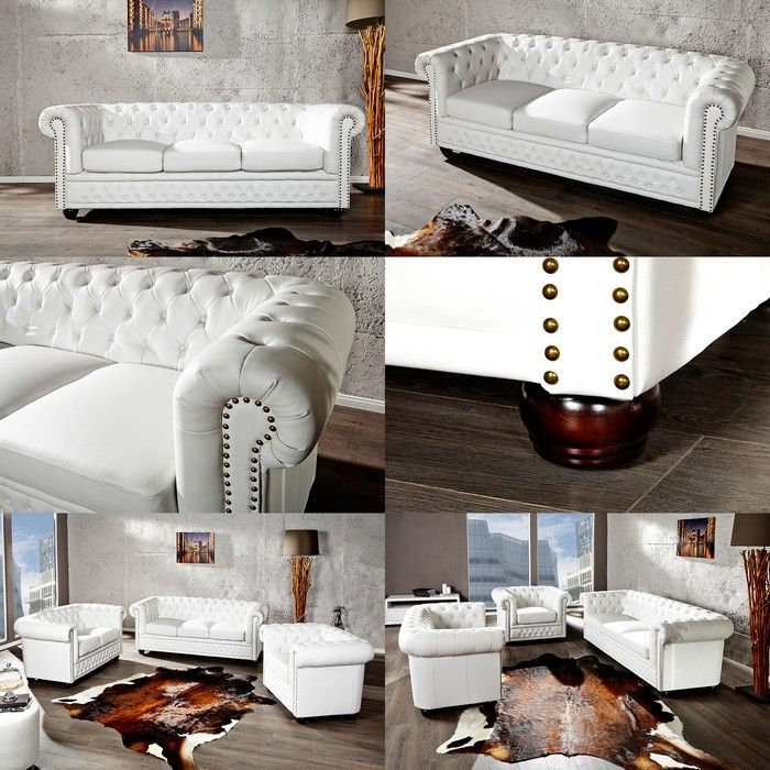 edle chesterfield 3er sofa winchester weiss kunstleder chaiselounge neu ebay. Black Bedroom Furniture Sets. Home Design Ideas