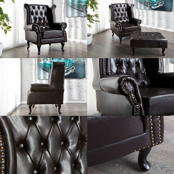 chesterfield ohrensessel sessel winchester dunkelbraun kunstleder chaiselounge ebay. Black Bedroom Furniture Sets. Home Design Ideas