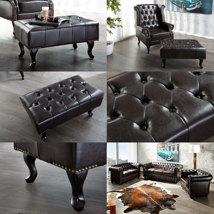 hocker chesterfield winchester dunkelbraun portofrei bestellen cag design m bel onlineshop. Black Bedroom Furniture Sets. Home Design Ideas