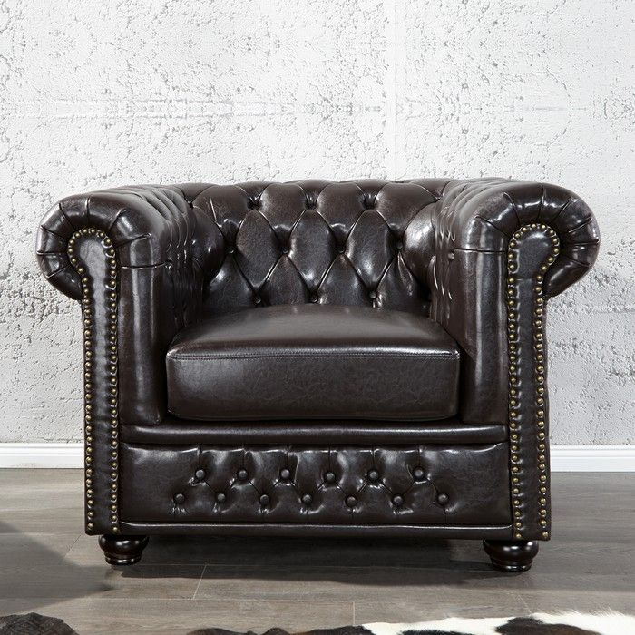edle chesterfield sessel winchester dunkelbraun kunstleder chaiselounge. Black Bedroom Furniture Sets. Home Design Ideas