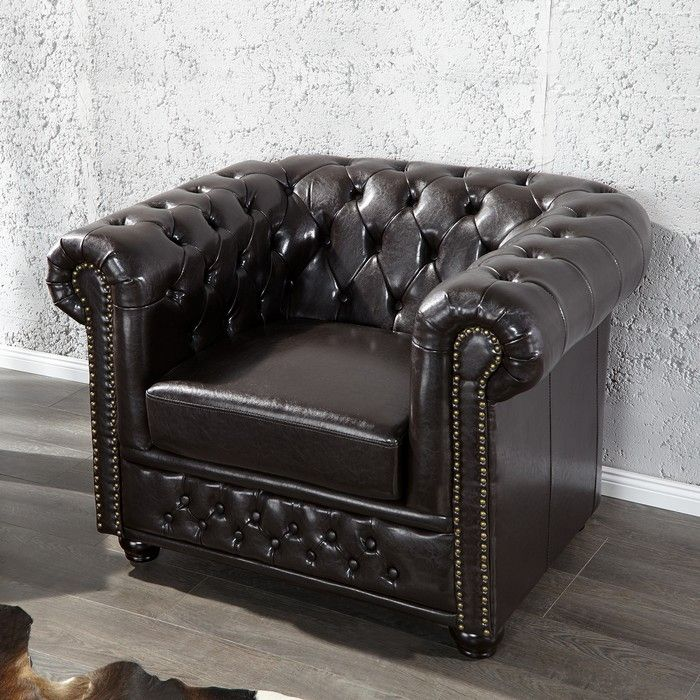 sessel chesterfield winchester dunkelbraun portofrei. Black Bedroom Furniture Sets. Home Design Ideas