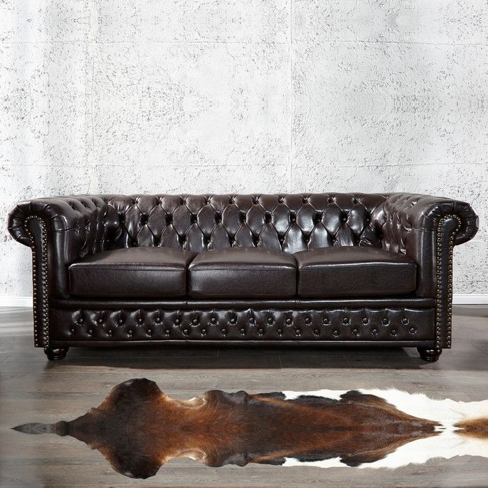 edle chesterfield 3er sofa winchester dunkelbraun kunstleder chaiselounge neu ebay. Black Bedroom Furniture Sets. Home Design Ideas
