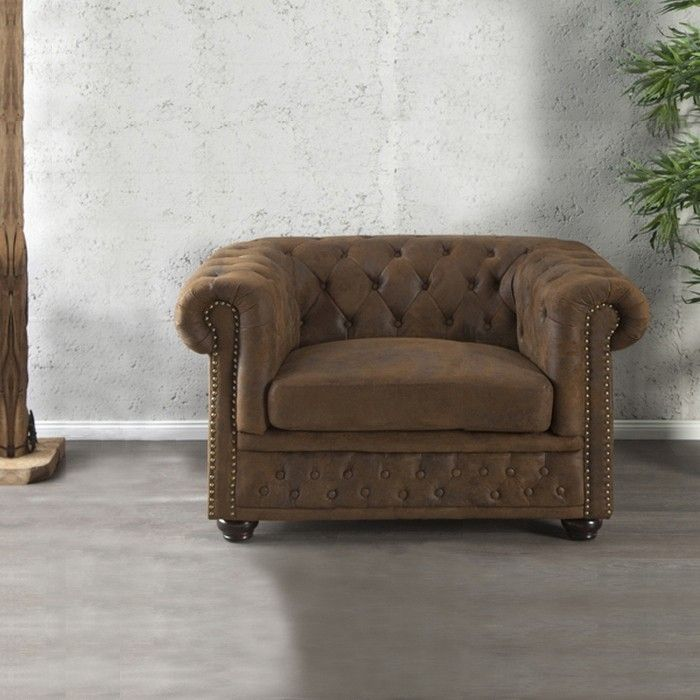 edle chesterfield sessel winchester braun kunstleder chaiselounge neu ebay. Black Bedroom Furniture Sets. Home Design Ideas