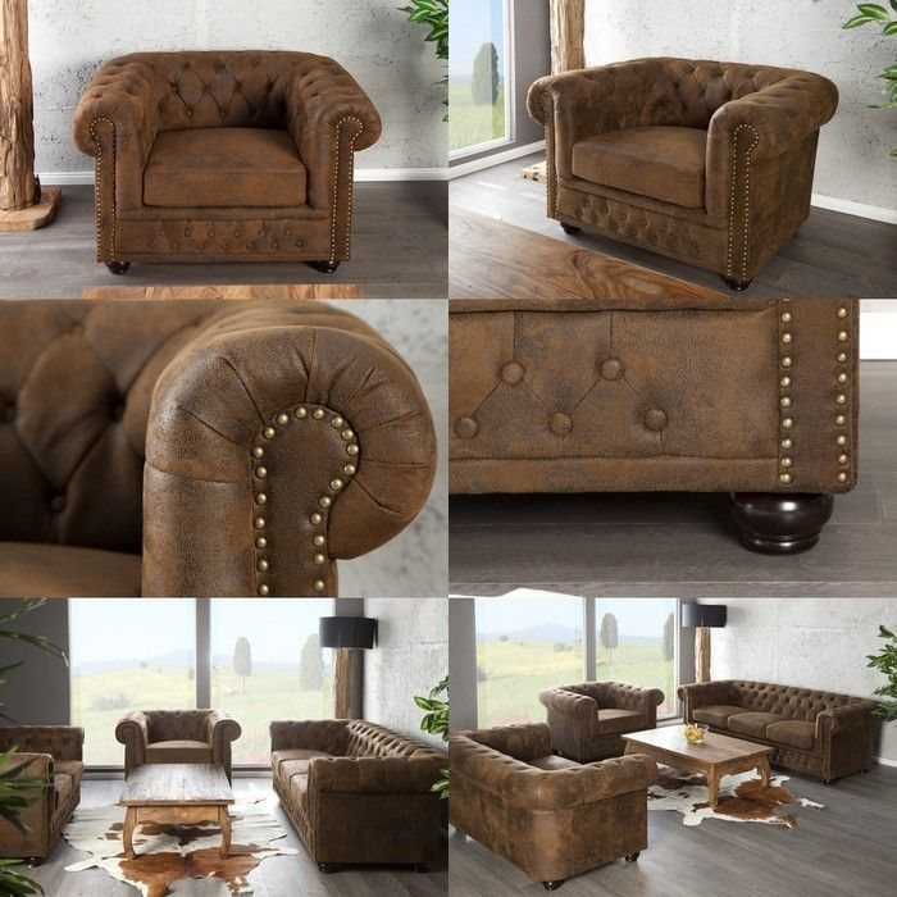 edle chesterfield sessel winchester braun kunstleder chaiselounge neu ebay. Black Bedroom Furniture Sets. Home Design Ideas