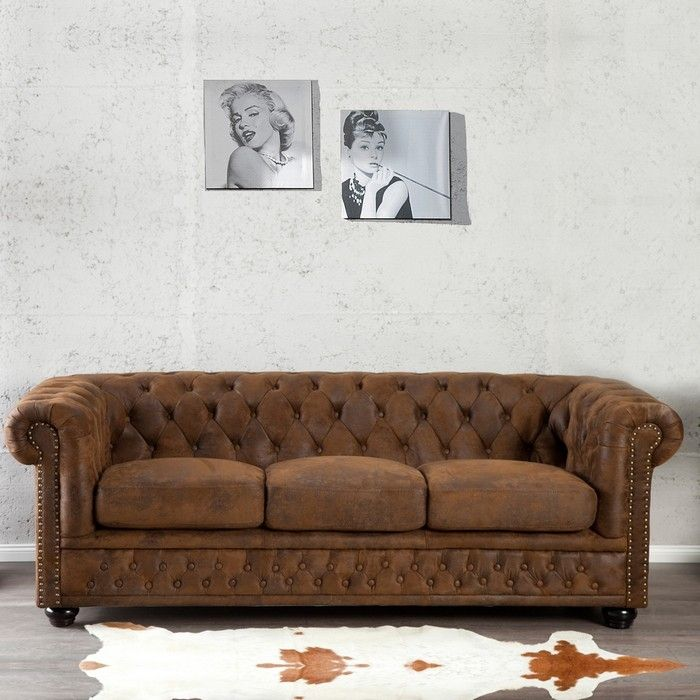 3er sofa chesterfield winchester braun portofrei bestellen cag design m bel onlineshop. Black Bedroom Furniture Sets. Home Design Ideas
