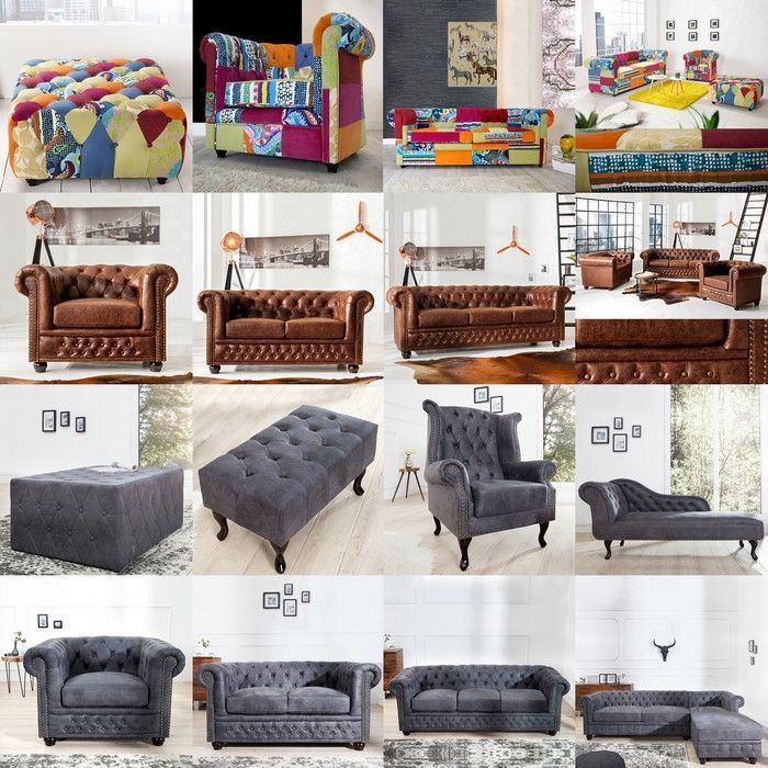 3er sofa winchester braun kunstleder chaiselounge neu ebay. Black Bedroom Furniture Sets. Home Design Ideas