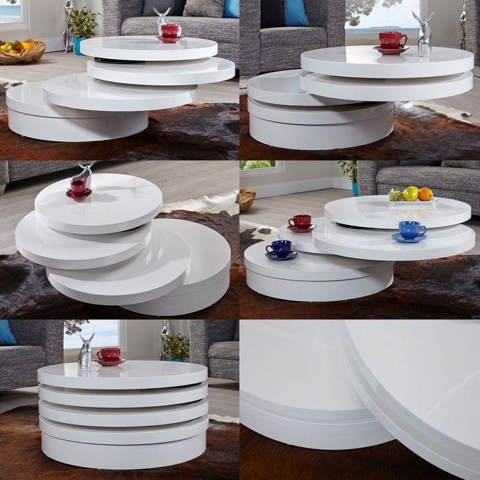 3 ebenen beistelltisch couchtisch circulaire wei hochglanz drehbar 70cm neu ebay. Black Bedroom Furniture Sets. Home Design Ideas