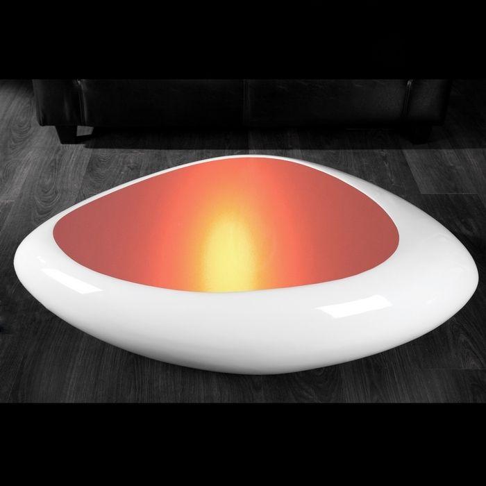 design couchtisch delta weiss led farbwechsel beleuchtung 118cm neu ebay. Black Bedroom Furniture Sets. Home Design Ideas