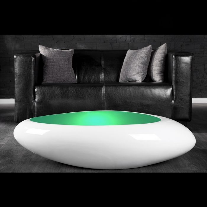 design couchtisch delta weiss led farbwechsel beleuchtung 118cm neu ebay. Black Bedroom Furniture Sets. Home Design Ideas