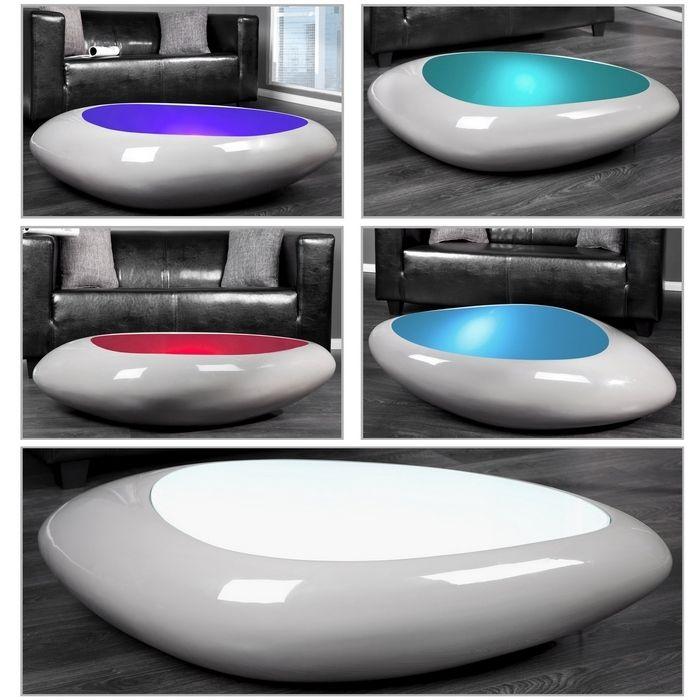 design couchtisch delta grau led farbwechsel beleuchtung 118cm neu ebay. Black Bedroom Furniture Sets. Home Design Ideas