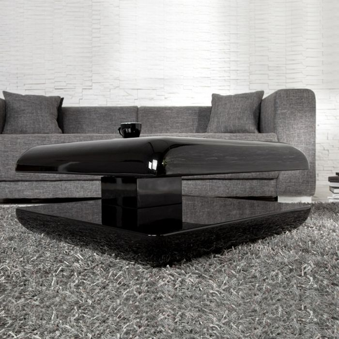 designer couchtisch space schwarz hochglanz high gloss drehbar 70cm neu ebay. Black Bedroom Furniture Sets. Home Design Ideas