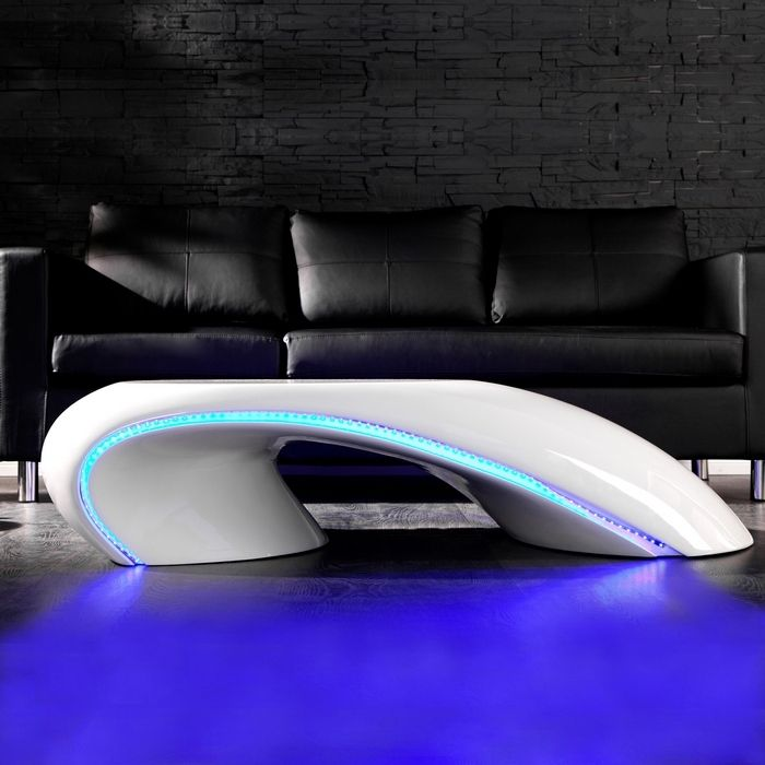 DESIGNER COUCHTISCH [FUTURA] WEISS HOCHGLANZ + LED