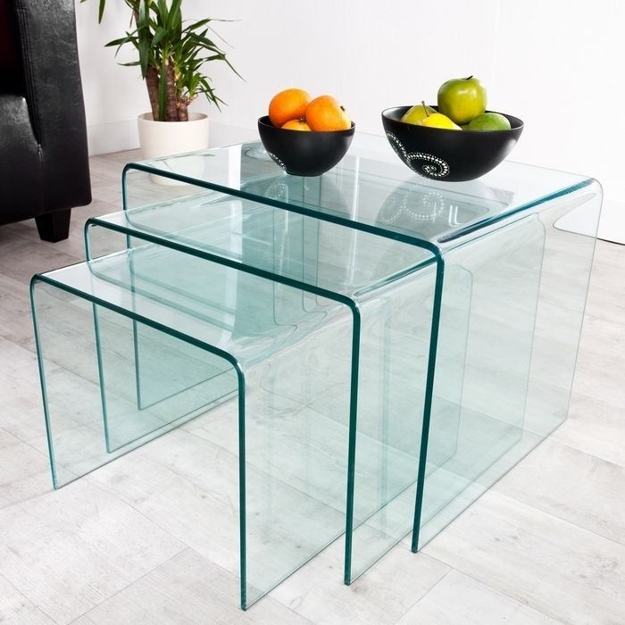 3er Set Glas Beistelltisch Mayfair Transparent Gunstig Portofrei