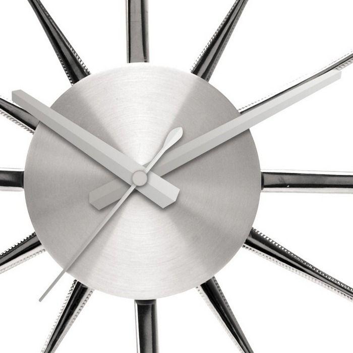 designer lounge wanduhr uhr k chenuhr kitchen silber 44cm neu ebay. Black Bedroom Furniture Sets. Home Design Ideas