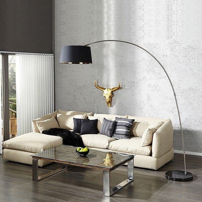 xxl design bogenlampe stehlampe luxor schwarz gold marmorfuss schwarz 220cm ebay. Black Bedroom Furniture Sets. Home Design Ideas