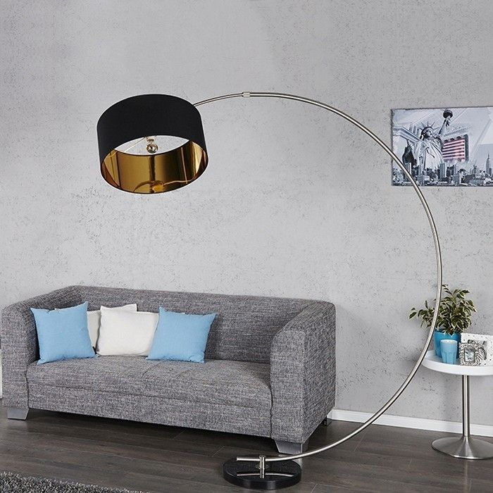 xxl design bogenlampe stehlampe arc schwarz gold mit marmorfuss schwarz 182cm ebay. Black Bedroom Furniture Sets. Home Design Ideas